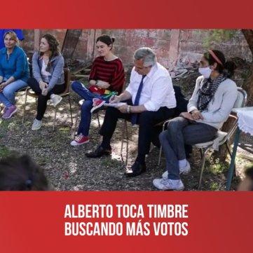 Alberto toca timbre buscando más votos