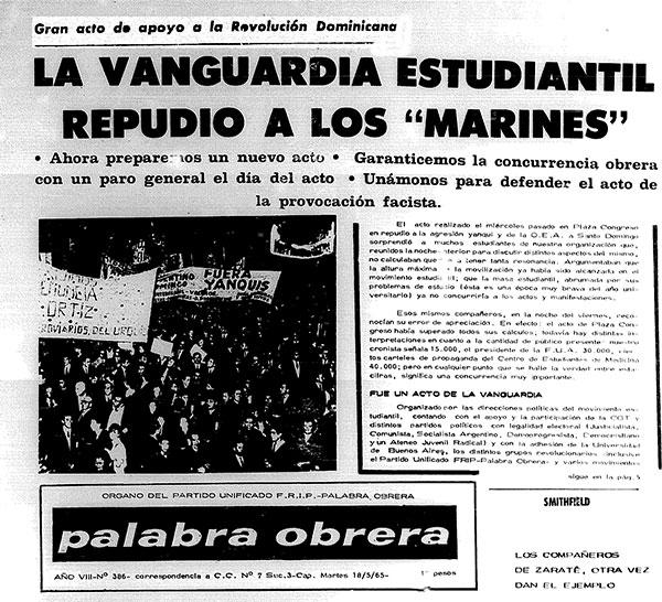 Facsimil del periódico después  del acto del 12 de mayo de 1965