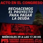 29-01: Acto del FIT contra el proyecto para pagar la deuda