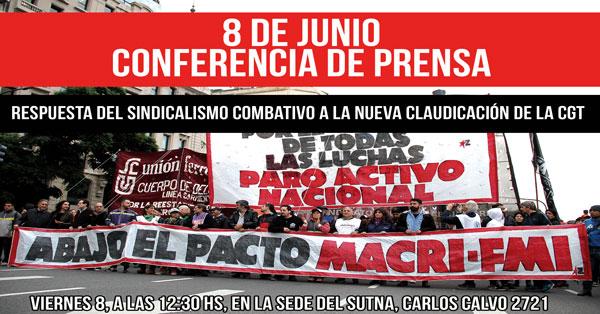 20180607 Conferencia de prensa sindicalismo combativo