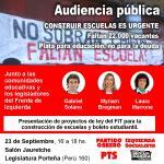 Audiencia pública: presentación de proyectos de ley del FIT para construcción de escuelas y boleto estudiantil.