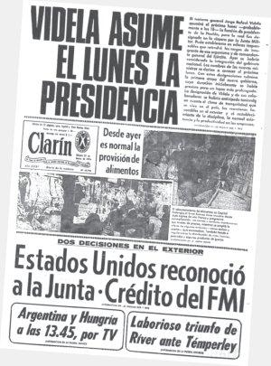 Portada diario Clarín marzo 1976.