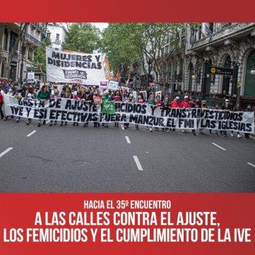 Hacia el 35º Encuentro / A las calles contra el ajuste, los femicidios y el cumplimiento de la IVE