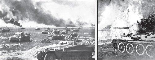 Imágenes de la batalla de Kursk: el frente alemán (izquierda) y un tanque soviético T34 (derecha)